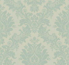 York Wallcoverings Pale Blue Turquoise Large Damask Victorian Vintage Wallpaper