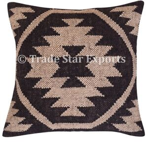 Indian Vintage Kelim Cushion Cover 18x18 Hand Woven Jute Rug Square Pillow Case