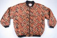 NWOT Vintage 80s 90s Southwestern Aztec Geometric Abstract Silk Bomber Jacket L
