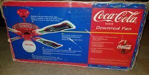 Complete Coca Cola Ceiling Fan 1997 Original White Light Globe & 4 Blades