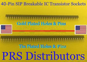 40 Pin SIP IC Transistor Socket Breakable Single Row Round Pin Female Header 1PC