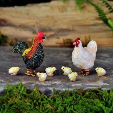 Miniature Fairy Garden Chicken Rooster Hen w 6 Chicks Gnome Dollhouse GO 17274
