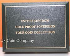 Royal Mint Oro Verde Oscuro de Cuero vacío prueba 4 Soberano Caja de moneda
