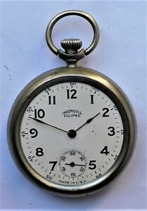 NO RESERVE c1930 Ingersoll Eclipse Pocket Watch Vintage Antique