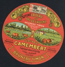 Original French Camembert Cheese Label, Cows in Pasture, 500