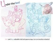 UNDER THE BED STITCHED PYJAMA BAG PATTERN IRON ON TRANSFERS INCLUDED