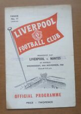 Liverpool v Nantes, 30/11/1960 - Friendship Cup (Friendly) Match Programme