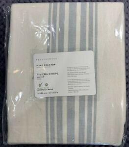 """PB Riviera Striped Linen/Cotton Rod Pocket Curtain, 50"""" x 84"""", Porcelain Blue"""