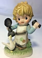 Vintage Ceramic Girl With On Phone With Duck Figurine By Royal Crown.