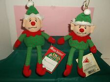 LOT 2~VINTAGE BEANBAG DAKIN ELF~NOS~NWT~VTG CHRISTMAS ELF~PIXIE~ELF ORNAMENT