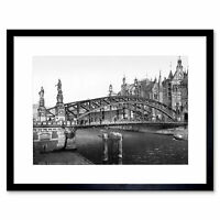 Vintage Photo Brooks Bridge Hamburg Germany Framed Print 12x16 Inch
