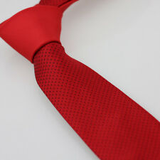 Coachella Ties Red Knot Contrast Red With Black Dots Spots Necktie SKINNY Tie