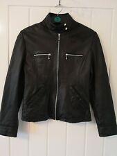SOON WOMAN BLACK REAL LEATHER BIKER    JACKET Coat UK 12