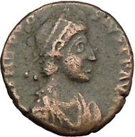 THEODOSIUS I the Great  with labarum on galley RARE Ancient  Roman Coin i39412
