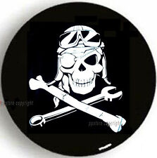 "SPARE TIRE COVER 26.5""-29"" w/ wrangler Mechanic Pirate Skull mb536371p"