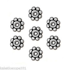 HEISHE DAISY SPACER JEWELRY BEAD SILVER COLOR PEWTER 25 BEADS 6MM ROUND PW8