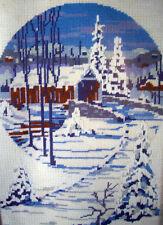 Vermont Covered Bridge in winter Spinnerin Needlepoint kit  wool yarns