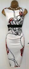 Karen Millen White Red Rose Black Bow Wiggle Pencil Occasion Dress UK 8