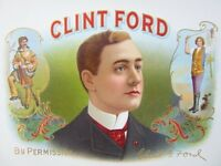 CLINT FORD Cigar Box Embossed Label By Permission Red Litho Vintage Original