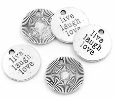 4 Word Charms Quote Pendants LIVE LAUGH LOVE Charms Antiqued Silver 20mm