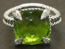 David Yurman Sterling silver 6.10CT VS1/G diamond & tourmaline cable ring sz 5.5