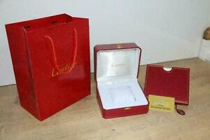 GENUINE Cartier Watch Box White Red Wood Case RARE Booklet Pillow Kit Vintage ♕♕