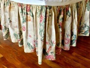 Ralph Lauren Vintage Tan Floral Scroll Roses Hydrangea Bedskirt Ruffle King Rare