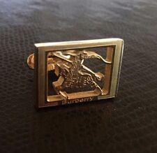 BURBERRY Cufflinks Gold Tone Horse Logo - NEW