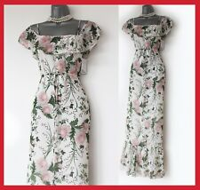 MAX Studio Floral Print Chiffon Square Neck Cold Shoulder Summer Maxi Dress XS