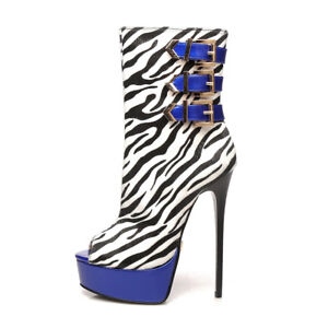 Giaro MARUCKLE peep-toe boots with Zebra pattern