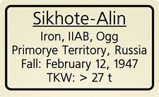 Meteorite label Sikhote-Alin