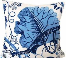 Blue Cushion Cover Leaves Floral Printed Heavy Linen Fabric Square 16""