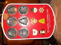 Wilton COOKIE sheet pan TREAT metal mold tin Snowman Christmas Tree Angel Deer