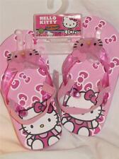 New HELLO KITTY Pink Flip Flops Sandals w/ Jelly Glitter Straps, Size 5-6