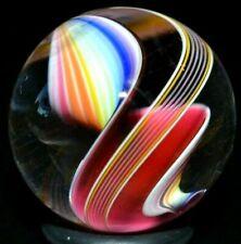 "STEVEN MASLACH GLASS MARBLE/.912""-MAGENTA/RAINBOW CORKSCREW RIBBON-2 SIDED/FAST"