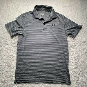 Under Armour Polo Shirt Adult Small Gray Striped Blue Loose Heatgear CasualC6