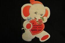 Vintage Precious Elephant Valentine Card 1940S Flocked Rust Craft
