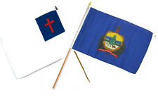 """12x18 12""""x18"""" Wholesale Combo Christ Christian State Vermont Stick Flag"""
