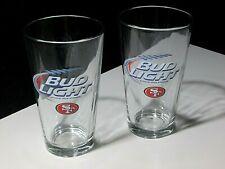 NEW 2 Bud Light San Francisco 49ers NFL Football 16 oz Beer Glasses Pint Niners