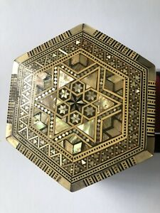 Wooden Mother Of Pearl Box Hexagon