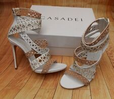 CASADEI LASER CUT OUT STUDDED DRESSY SANDALS>BN>GENUINE>£700+>7uk>40>7>STRAPPY