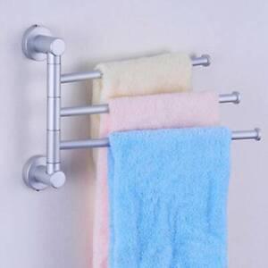 3 Tier Swivel Towel Rail Chrome Wall Mounted Towel Bar with Fixings Bathroom New