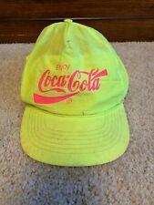 Vintage Coca Cola Snapback Hat Lime Green Advertising Soda