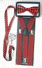"""Black&Red Checkers Bow tie,Black&Red Lanyard,& 1"""" B&R Checkered Suspenders-v6"""