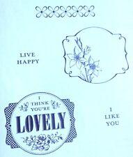 I Think You're Lovely Lables Stampinn Up Set Live Happy Flower Border Rubber Ret