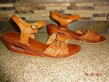 Vintage Kinney Shoes Womens Sz 8-9 Brazil Brown Leather Shoes Wood Cutout Heels