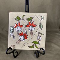 "Clerodendrum Flower Trivet Tile Coaster Jack Cleo Teissedre Signed JRT 6"" Square"