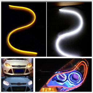 2x 60CM White/Amber Switchback Car DRL LED Light Strip Sequential Turn Signal