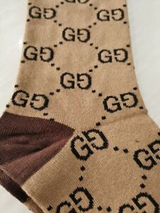 GUCCI PATTERN BEIGE BROWN COTTON BLEND SOCKS