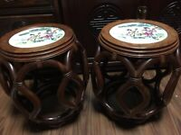 Vintage Chinese Rosewood Stool Side Tables/Plant Stands with Porcelain Top